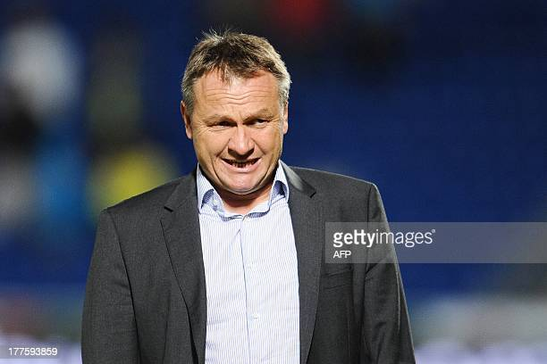 Bastia's coach Frederic Hantz reacts at the end of the French L1 football match between Bordeaux and Bastia on August 24 at the Chaban Delmas Stadium...