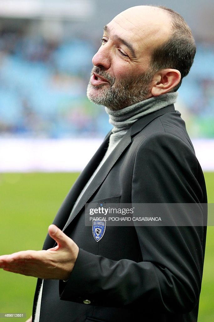 Bastia's football club president Pierre-Marie Geronimi reacts prior to the French L1 football match Bastia (SCB) vs Monaco (ASM) at the Armand Cesari stadium in Bastia, Corsica island, on February 15 , 2014.