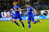 Bastia's Franco Algerian midfielder Ryad Boudebouz celebrates after scoring a goal during the French L1 football match Bastia against Rennes on...