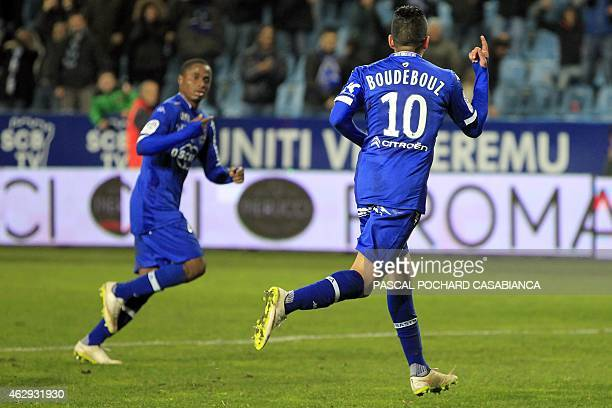Bastia's Franco Algerian midfielder Ryad Boudebouz celebrates after scoring a penalty during the French L1 football match Bastia against Metz on...