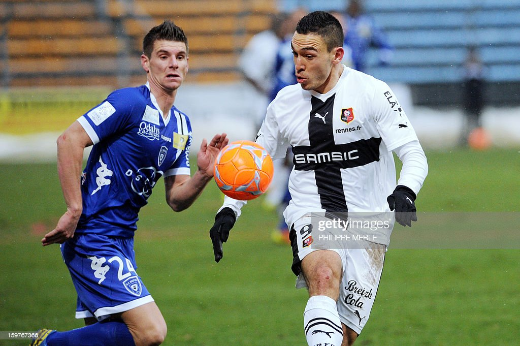 Bastia's French defender Jeremy Choplin (L) vies for the ball with Rennes' French forward Mevlut Erding during the French L1 football match between Bastia and Rennes, on January 20, 2013, at the Jean Laville stadium in Gueugnon.