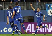 Bastia's French defender Julian Palmieri celebrates after scoring a goal during the French L1 football match between Bastia and Paris Saint Germain...