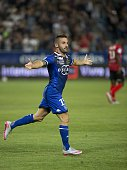 Bastia's French Defender Julian Palmieri celebrates after scoring a goal during the French ligue 1 football match Bastia vs Guingamp in the Armand...