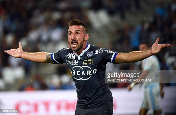 Bastia's French defender Julian Palmieri reacts during the French L1 football match between Marseille and Bastia at Velodrome Stadium in Marseille...