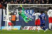 Bastia's French defender Julian Palmieri scores a goal during the French L1 football match between Bastia and Paris Saint Germain on January 10 in...