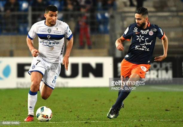 Bastia's French defender Lindsay Rose vies with Montpellier's French midfielder Ryad Boudebouz during the French Ligue 1 football match between MHSC...