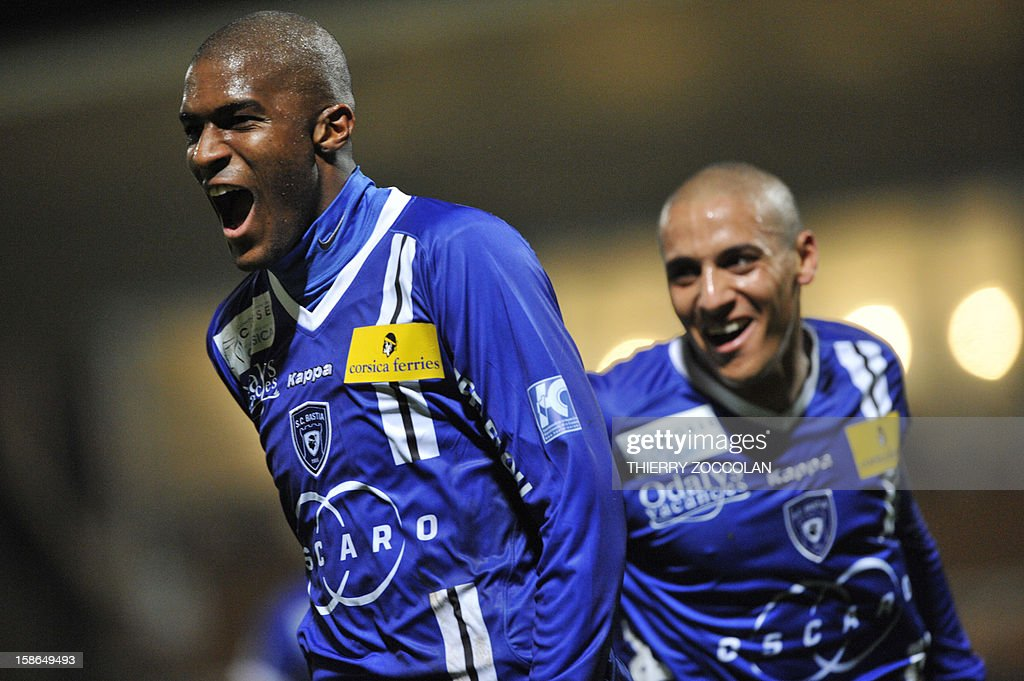 Bastia's French forward Anthony Modeste (L) celebrates after scoring a goal during the French L1 football match Bastia vs Nancy, on December 22, 2012, at the Jean Laville stadium in Gueugnon.