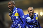 Bastia's French forward Anthony Modeste celebrates after scoring a goal during the French L1 football match Bastia vs Nancy on December 22 at the...