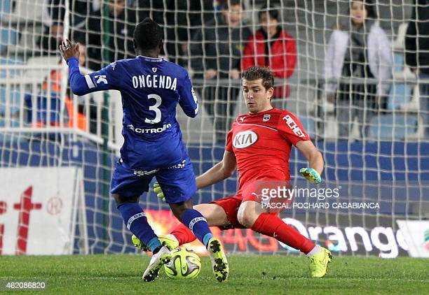 Bastia's French Forward Hervin Ongenda faces Bordeaux' French goalkeeper Cedric Carrasso during the French L1 football match Bastia vs Bordeaux on...