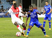 Bastia's French Forward Hervin Ongenda vies with Monaco's French Ivorian midfielder Tiemoue Bakayoko during the French L1 football match between...