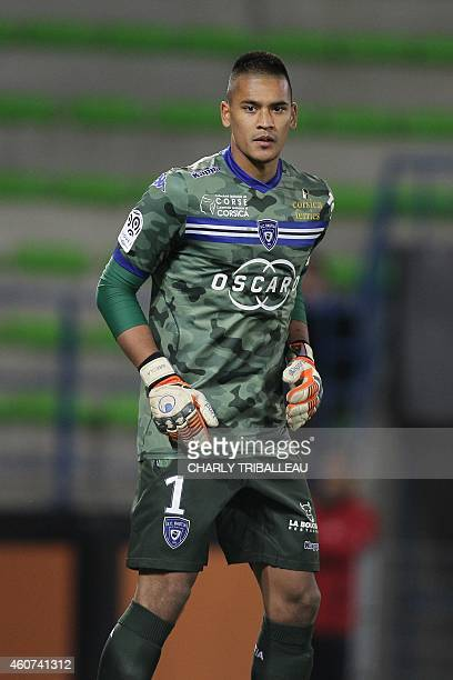 Bastia's French goalkeeper Alphonse Areola is pictured during the French L1 football match between Caen and Bastia on December 20 at the Michel...