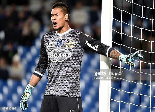 Bastia's French goalkeeper Alphonse Areola reacts during the French L1 football match between Montpellier and Bastia on April 4 2015 at the La Mosson...