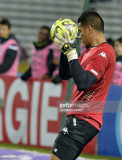 Bastia's French goalkeeper Alphonse Areola warms up before the French L1 football match between FC Nantes and SC Bastia on February 14 2015 at the La...