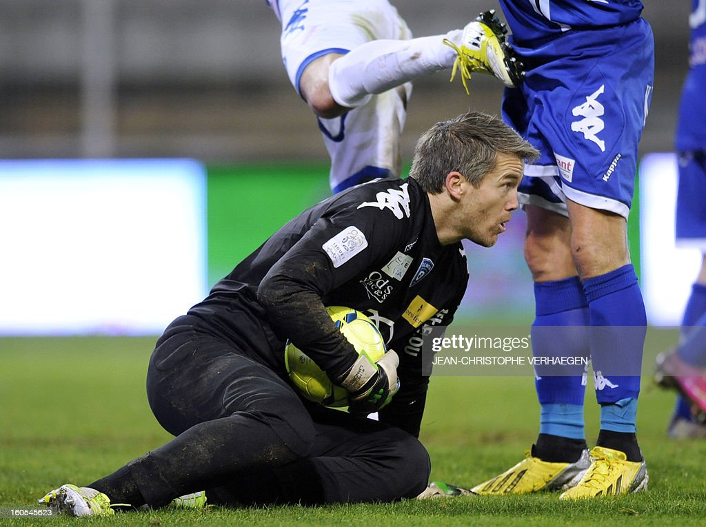 Bastia's French goalkeeper Mickael Landreau grabs the ball during the French L1 football match Bastia (SCB) vs Evian (ETGFC) at the Abbe Deschamps Stadium, on February 2, 2013 in Auxerre.
