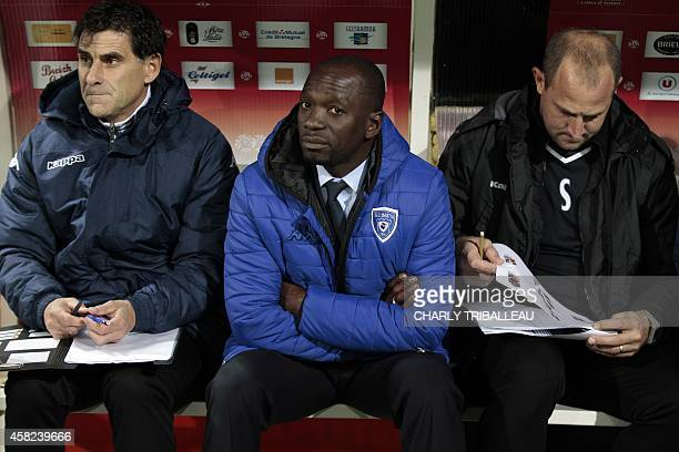 Bastia's French head coach Claude Makelele looks on before the French L1 football match between Guingamp and Bastia on November 1 at the Roudourou...