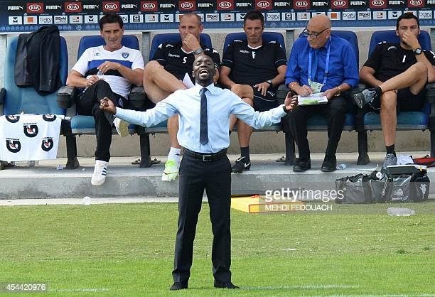 Bastia's French head coach Claude Makelele reacts during the French L1 footbal match Bordeaux vs Bastia on August 31 2014 at the ChabanDelmas stadium...