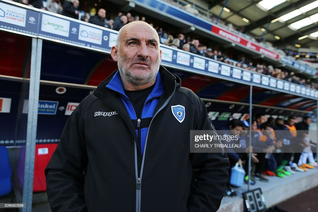 Bastia's French head coach Francois Ciccolini looks on before the French L1 football match between Caen (SMC) and Bastia (SCB) on April 30, 2016, at the Michel d'Ornano Stadium in Caen, northwestern France.