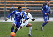 Bastia's French midfielder Abdoulaye Keita vies for the ball with Rennes' French midfielder Yann M'vila during the French L1 football match between...