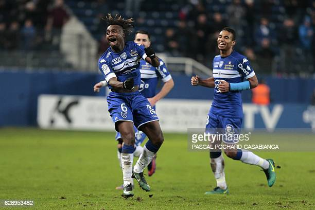 Bastia's French midfielder Allan Saint Maximin celebrates after scoring a goal during the French L1 football match between Bastia and Metz on...