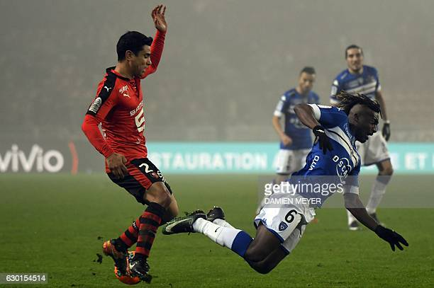 Bastia's French midfielder Allan Saint Maximin vies for the ball with Rennes' French midfielder Benjamin Andre during French L1 football match Rennes...