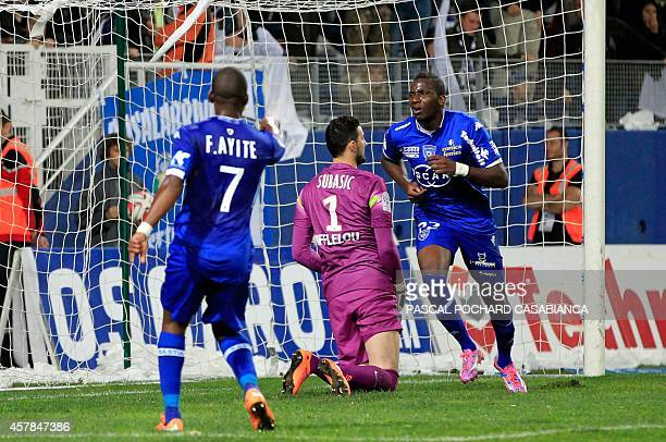 Bastia's French midfielder Christopher Maboulou celebrates after scoring a goal during the French L1 football match between Bastia and Monaco in...