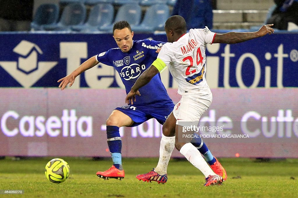 Bastia's French midfielder <a gi-track='captionPersonalityLinkClicked' href=/galleries/search?phrase=Gael+Danic&family=editorial&specificpeople=650403 ng-click='$event.stopPropagation()'>Gael Danic</a> vies with Lille's French midfielder <a gi-track='captionPersonalityLinkClicked' href=/galleries/search?phrase=Rio+Mavuba&family=editorial&specificpeople=708351 ng-click='$event.stopPropagation()'>Rio Mavuba</a> during the French L1 football match Bastia (SCB) against Lille (LOSC) on February 21, 2015 in the Armand Cesari stadium in Bastia, French Mediterranean island of Corsica.