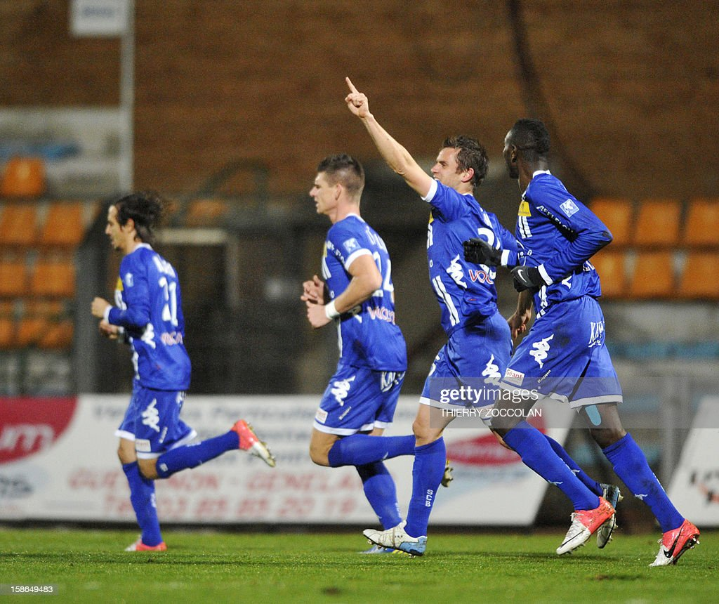 Bastia's French midfielder Jerome Rothen (2nd R) celebrates after scoring a goal during the French L1 football match Bastia vs Nancy, on December 22, 2012, at the Jean Laville stadium in Gueugnon.