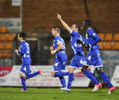 Bastia's French midfielder Jerome Rothen celebrates after scoring a goal during the French L1 football match Bastia vs Nancy on December 22 at the...