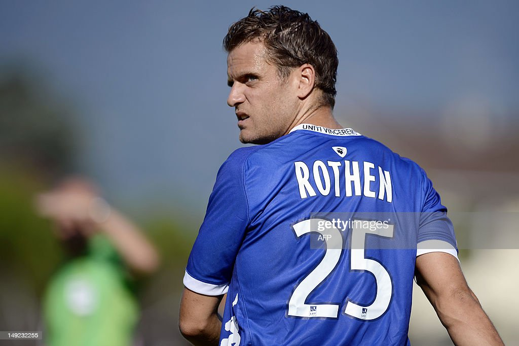 Bastia's French midfielder <a gi-track='captionPersonalityLinkClicked' href=/galleries/search?phrase=Jerome+Rothen&family=editorial&specificpeople=641568 ng-click='$event.stopPropagation()'>Jerome Rothen</a> is pictured with the ball during the friendly football match Evian Thonon Gaillard vs Bastia on July 24, 2012, at the Salvator Mazzeo stadium in the French eastern city of Gaillard.