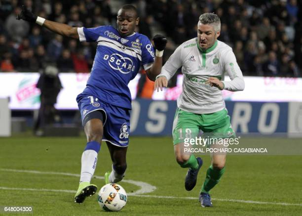Bastia's French midfielder Lenny Nangis vies with SaintEtienne's French midfielder Fabien Lemoine during the French L1 football match between Bastia...