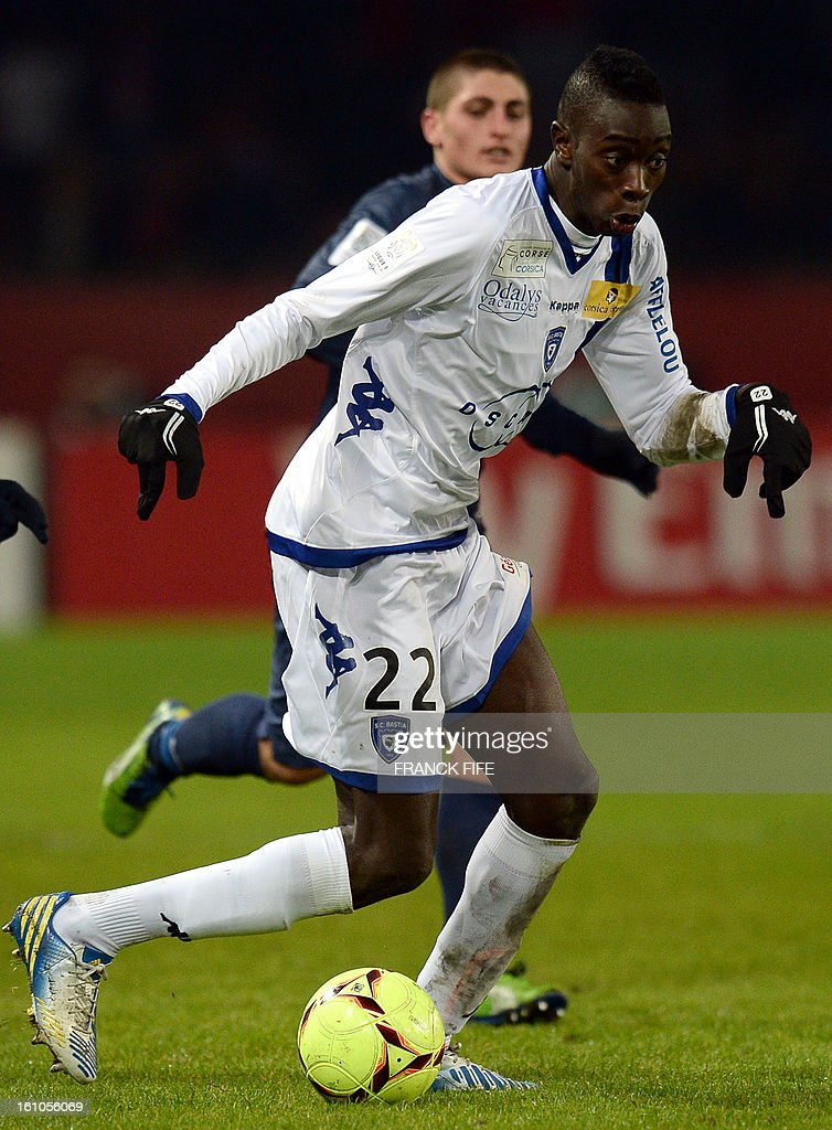 Bastia's French midfielder Sambou Yatabare controls the ball during the French L1 football match Paris Saint-Germain (PSG) vs Bastia, on February 8, 2013 at the Parc des Princes stadium in Paris.