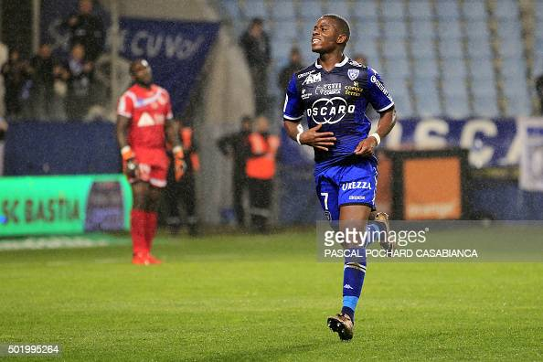 Bastia's French Togolese midfielder Floyd Ayite celebrates after scoring a goal during the French L1 football match between Bastia and Reims on...
