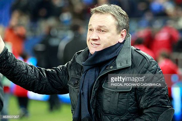 Bastia's head coach Frederic Hantz gestures before the begining of the French L1 football match Bastia vs Bordeaux at the Armand Cesari stadium in...