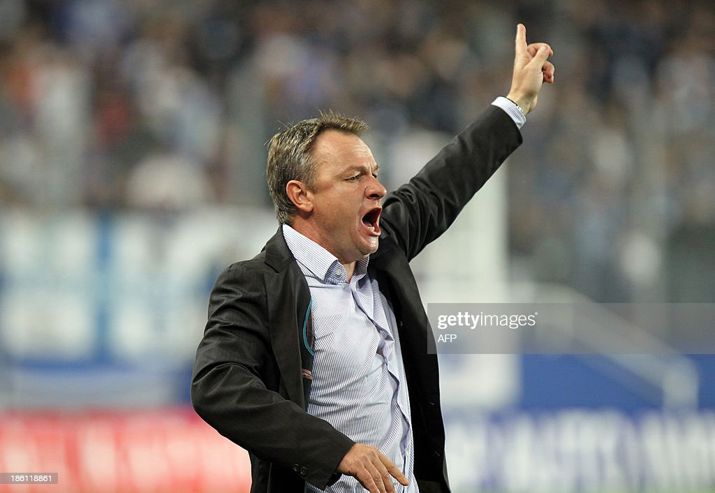 Bastia's head coach Frederic Hantz gestures during the French L1 football match Bastia (SCB) against Nice (OGC) in the Armand Cesari stadium in Bastia, Corsica, on October 26, 2013.