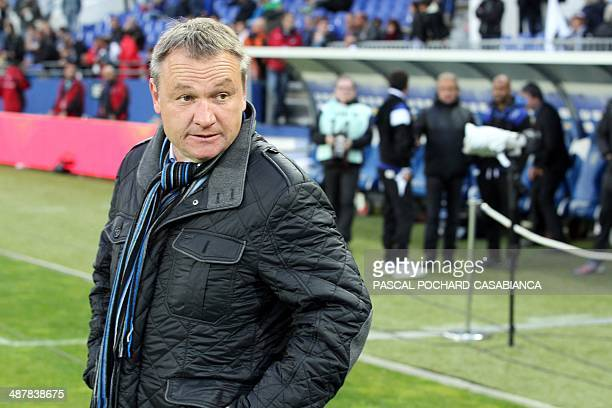 Bastia's head coach Frederic Hantz looks on before the French L1 football match between Sporting Club Bastia and Lille on May 2 at the Armand Cesari...