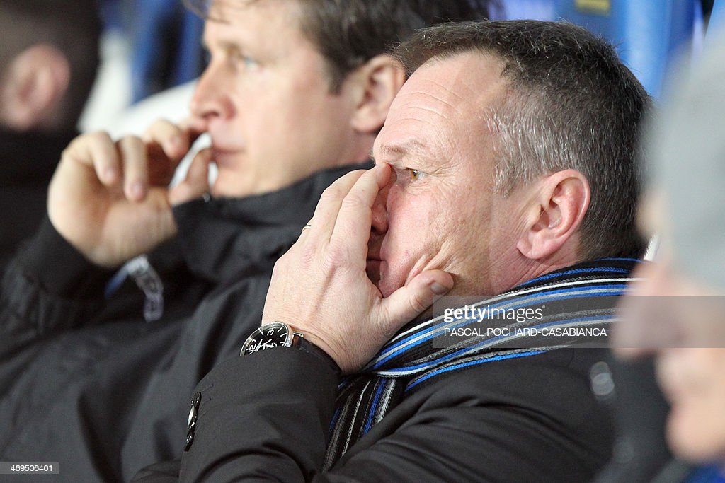 Bastia's head coach Frederic Hantz (C) looks on during the French L1 football match Bastia (SCB) against Monaco in the Armand Cesari stadium in Bastia, Corsica, on February 15 , 2014. Monaco defeated Bastia 2-0.