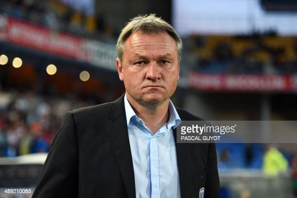 Bastia's head coach Frederic Hantz looks on prior to the French L1 football match Montpellier vs Bastia at Mosson stadium in Montpellier southern...