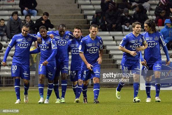 Bastia's palyers celebrate after scoring during the French L1 football match between FC Nantes and SC Bastia on February 14 2015 at the La Beaujoire...