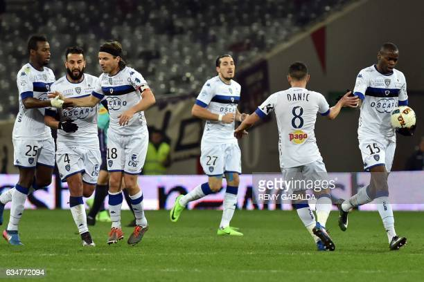 Bastia's players celebrate after scoring a goal during the French L1 Football match between Toulouse and Bastia on February 11 2017 at the Municipal...