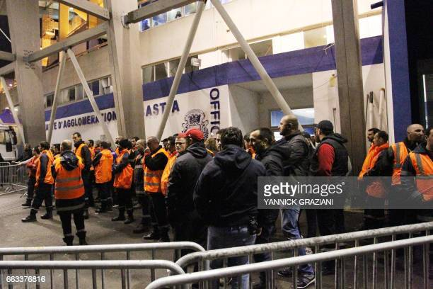 Bastia's supporters block the access to the stadium after the L1 football match Bastia against Lille on April 1 at the Armand Cesari stadium in...