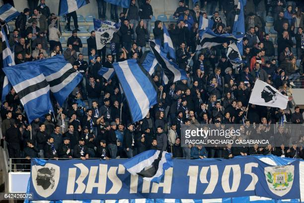 Bastia's supporters cheer their team before the L1 football match Bastia against Monaco on February 17 2017 in the Armand Cesari stadium in Bastia on...