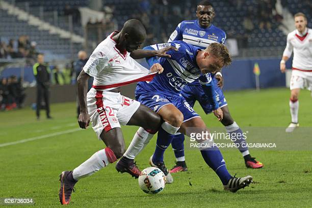 Bastia's Swedish midfielder Pierre Bengtsson vies with Bordeaux's French defender Youssouf Sabaly during the French L1 football match between Bastia...