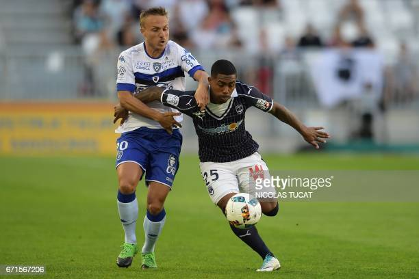 Bastia's Swedish midfielder Pierre Bengtsson vies with Bordeaux's Brazilian forward Malcom during the French L1 football match between Bordeaux and...