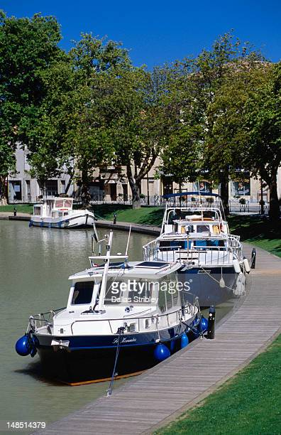 Bastide St Louis (Carcassonne's new town ), boats docked along Canal du Midi.