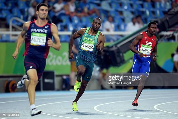 Bastien Auzeil of France Luiz Alberto de Araujo of Brazil and Leonel Suarez of Cuba compete in the Men's Decathlon 400m on Day 12 of the Rio 2016...