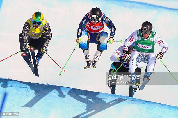 Bastien Midol of France takes 3rd place Anton Grimus of Australia Jonas Lenherr of Switzerland Brant Crossan of USA during the FIS Freestyle Skiing...