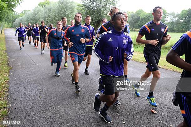 Bastien Samuel midfielder of Rsc Anderlecht and Proto Silvio goalkeeper of Rsc Anderlecht pictured during the morning run of RSC Anderlecht at the...