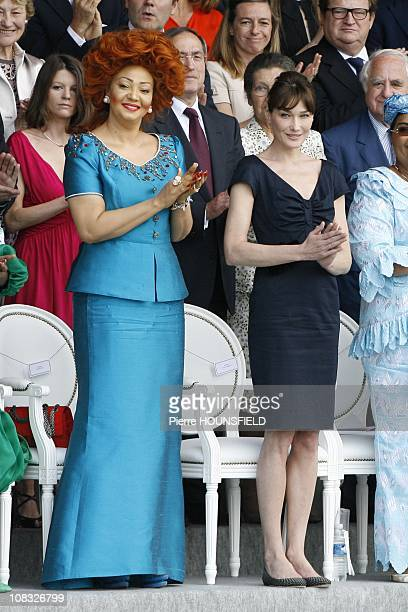 Bastille Day annual military parade in Paris Chantal Biya Carla Sarkozy in Paris France on July 14th 2010