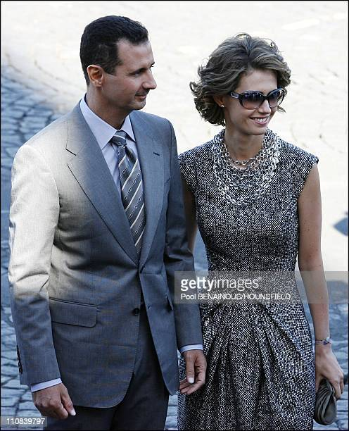 Bastille Day Parade In Paris France On July 14 2008 Bashar AlAssad and wife Asma