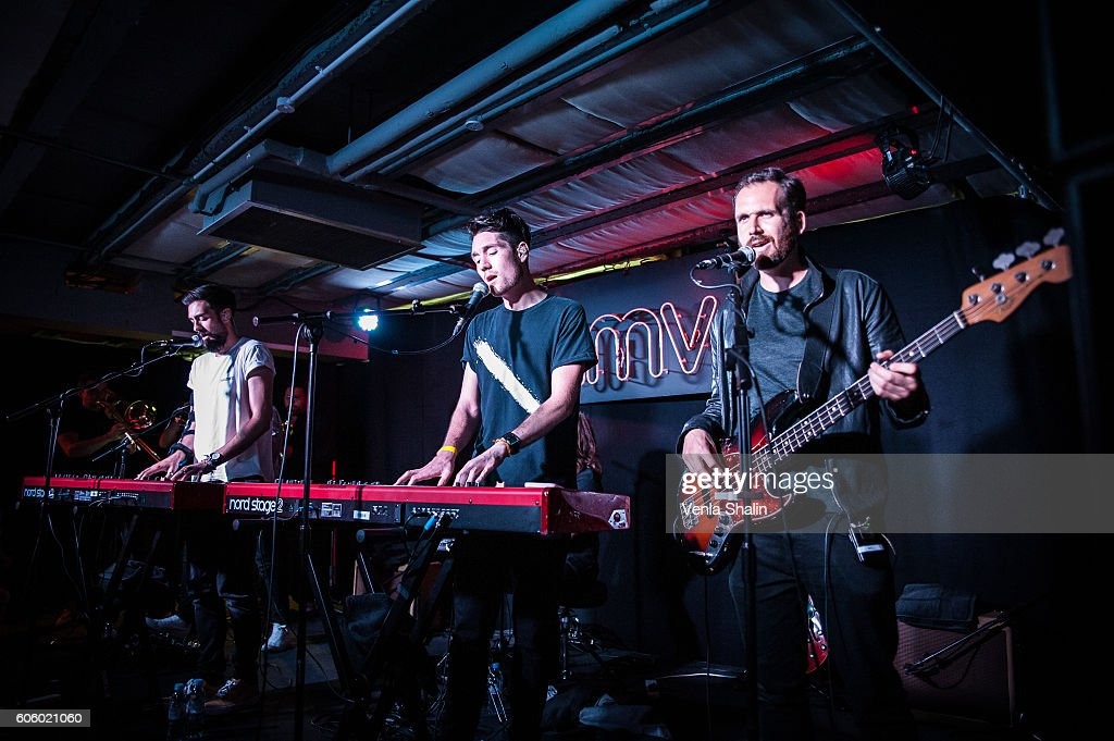 Bastille performs as Bastille meets fans and perform songs from their new album 'Wild World' at HMV Oxford Street on September 14, 2016 in London, England.